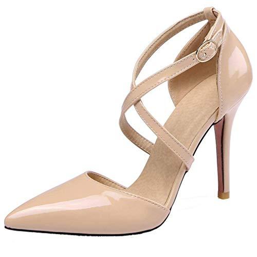 Coolulu Damen Knöchelriemchen High Heels Pumps mit Riemchen Lack Stiletto 10cm Absatz Geschlossen Abend Schuhe (Beige,37)