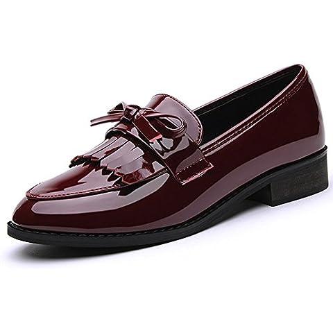 La primavera de estilo británico de las mujeres modernas con la borla de charol de tacón bajo Kurzschaft Casual Zapatos Mocasines color granate , talla