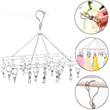 HOME CUBE 1 Pc 360 Degree (20 Clip) Stainless Steel Portable Folding Clothes Drying Rack Space Saving Travel Rotatable Clips,Clothesline Hanging Underwear Socks Laundry Drying Hanger Rack