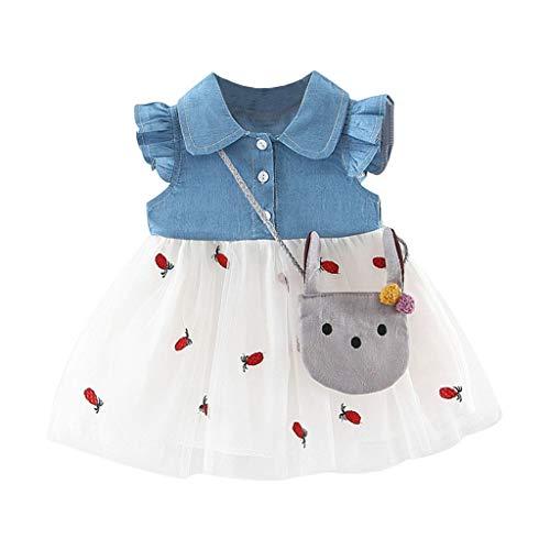 squarex Sommer Kleinkind Baby Kinder Mädchen Patchwork Geraffte Rock Print Tüll Kleid Prinzessin Kleider Kinder Flying Sleeve + Satchel Geraffte Dot