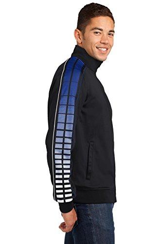 Sport Tek à pois par Sublimation tricot Track Veste pour femme Black/Tr Royal