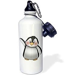 3dRose wb_217067_1Cute Black and Waving Penguin Illustration Sports Water Bottle, 21 oz, White