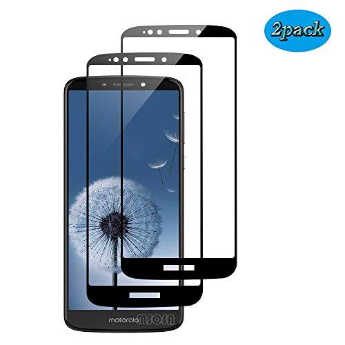 MSOSA Motorola E5 Plus Pellicola Vetro Temperato 2Pack, Proteggi Schermo in Vetro temperato, durezza 9H, chiarezza cristallina, AntiGraffio-Nero