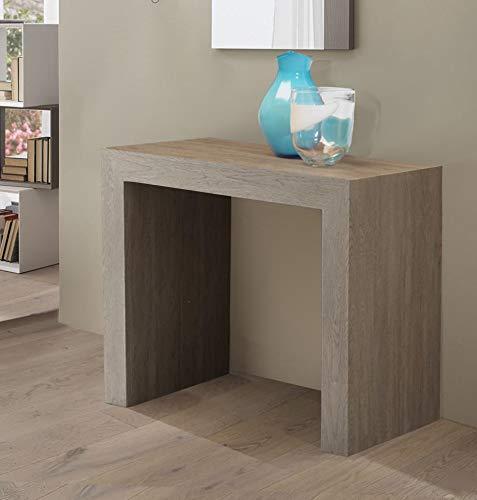 Arredinitaly party - consolle allungabile 90 x 45 cm. diventa un solido tavolo allungabile fino a 3 mt. (12 posti) (rovere gessato)