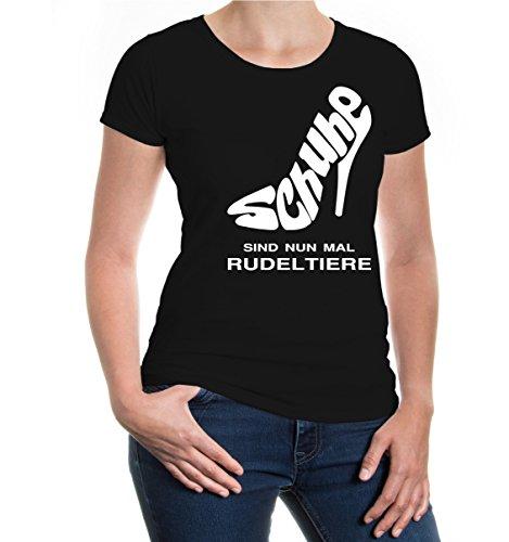buXsbaum Girlie T-Shirt Schuhe sind nun mal Rudeltiere-XL-Black-White