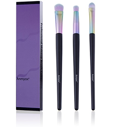 Brosses de maquillage Anmyox Premium synthétique Kabuki, contour de nez ,mélangeur, brosses à paupières, trousse de pinceau de maquillage (3 pcs)