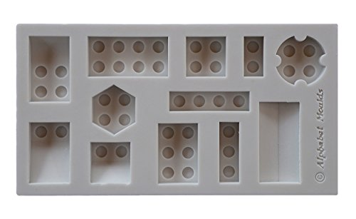 Alphabet Moulds AM0148 Building Bricks Modellierwerkzeug, Silikon, hellgrau