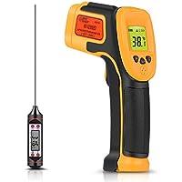 Termómetro infrarrojo, Termómetro láser digital Pistola de temperatura -26 ° F ~ 1022 ° F (-32 ° C ~ 550 ° C) Sonda de temperatura para cocinar / Aire / Refrigerador - Termómetro de carne gratis