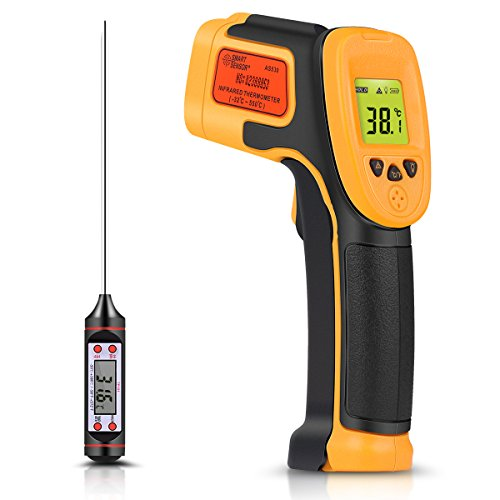 Infrarot Thermometer, Digitaler IR Laser Thermometer Temperaturpistole -26°F~1022°F (-32°C~550°C) Temperaturfühler Für Kochen/Luft/Kühlschrank – Fleischthermometer Enthalten