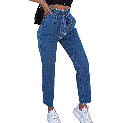 Pantaloni donna,meibax jeans alla caviglia a strisce laterali,a vita media,pantaloni slim stretche,matita casuali pantalone,con tasche,a tinta unita