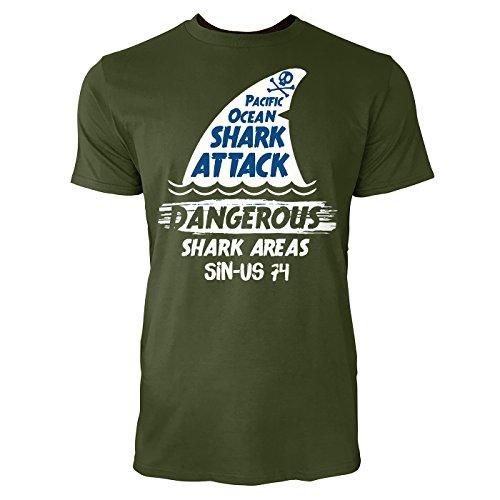 sinus-art-r-herren-t-shirt-pacific-ocean-shark-attack-city-green-crewneck-tee-with-frontartwork