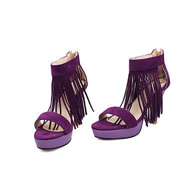 CH&TOU Da donna-Sandali-Ufficio e lavoro Casual Serata e festa-Cinturino alla caviglia-A stiletto-Felpato-Nero Viola Rosso Purple