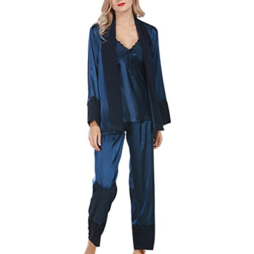 Zhhlinyuan Fashion Sleepwear Nightwear Satin and Chiffon Ladies Pyjamas Set Dark Blue