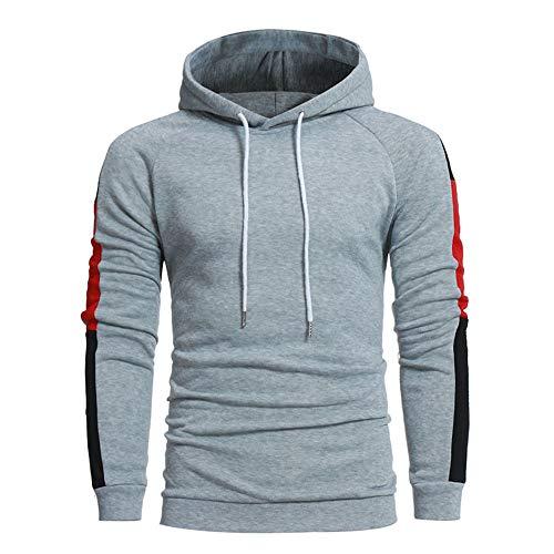 Aiserkly Herren Pullover Pulli Winterpullover Rollkragen Hoodie Basic Sweater Noos Kapuzenpullover Langarm Kapuzen-Sweatshirt Kapuzenjacke Sweatjacke Grau XL