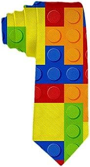 Handmade Ties for Men:Skinny Woven Slim Tie Mens Ties-Thik Necktie Colorful Building Blocks Bricks Tetris Neck