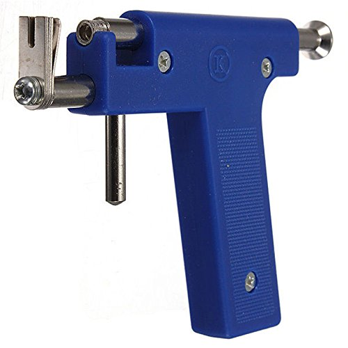 Nabel Piercing - TOOGOO(R)Pro Stahlohr Nasen Nabel Piercing Gun Tool Set 98 Stueck Instrument Studs Set Blau