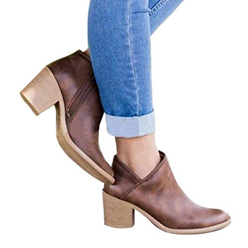 Minetom Mujeres Botas Sólido Tacón Ancho PU Boots Moda Casual Puntera Redonda Zapatos Cremallera Otoño Elegante Bootie Café EU 38
