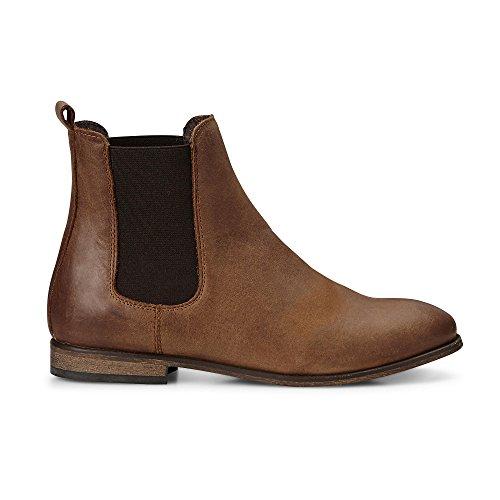 Cox Damen Damen Chelsea-Boots in Braun Aus Leder, Stiefelette mit Stretch-Einsatz Braun Leder 41