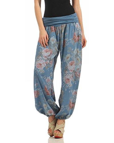 ZARMEXX Pantaloni da donna bloomers harem harem estate i pantaloni stile tutto stampa pantaloni casual pantaloni Harem Unica fiore-jeansblu
