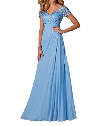 Royaldress Blau Elegant Spitze Chiffon Abendkleider Ballkleider Partykleider Abiballkleider Lang Mit Kurzarm Blau