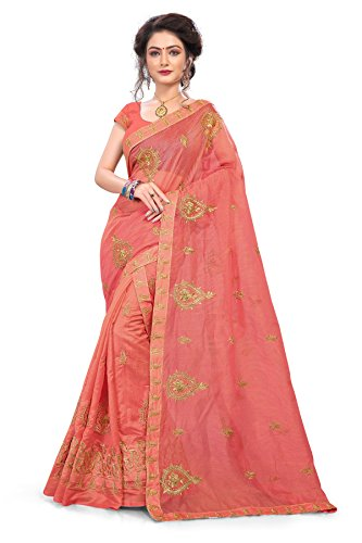 S. Kiran's Women's Supernet Peach Chador Chanderi Mekhela - Mekhla Chadar -...
