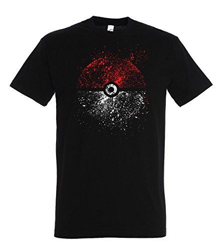 TRVPPY Herren T-Shirt Modell Pokeball in verschiedenen Farben, Gr. S-5XL Schwarz