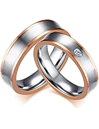 Vnox Su ella 2 piezas de acero inoxidable de oro rosa chapado anillo de la banda de parejas para la boda Promise Valentine