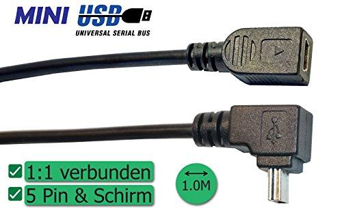 Mini USB Verlängerung Version 2016, abgewinkelter Stecker, 1:1 verbunden (5-fach & Schirm)