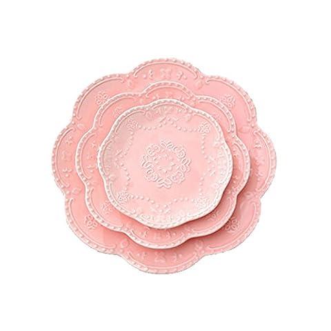 Butterfly Plate Embossed Ceramic Steak Dinnerware Dessert Dish Kitchen 6