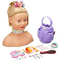 Gotz 1192052 Styling head with blond hair, blue eyes and accessories - make-up hair dressing head with 58 pieces - suitable agegroup 3+