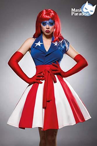 Sexy Miss America Kostümset Kostüm Superheld Held Heldin Blau Rot Weiß; Größe: M - 2