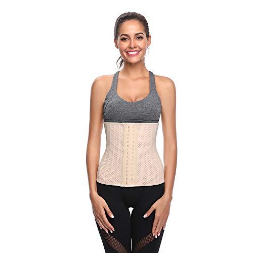 WYYSY 30 cm 25 Stahlknochen Taille Cincher Frauen Latex Taille Korsett Einstellbare 3 Haken & Ösenverschluss Taille Trainer Body Shaper,Flesh,S