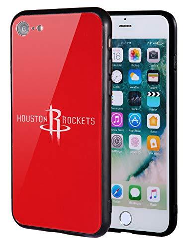 Die Masse iPhone 8Fall, iPhone 7Fall, NBA Team Logo auf gehärtetem Glas Backcover und Soft TPU Rahmen für Apple iPhone 8/7, 4.7 inch, Houston Rockets - Team-logo Iphone Fall