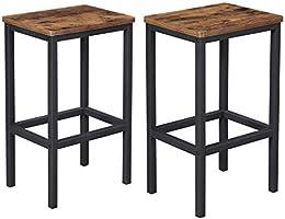 VASAGLE ALINRU barkruk set van 2, barstoelen, keukenstoelen in industrieel ontwerp, met voetsteun, voor keuken,...