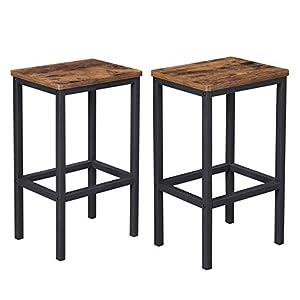 VASAGLE Barhocker 2er Set, Barstühle, Küchenstühle im Industrie-Design, mit Fußstütze, für Küche, Wohnzimmer…