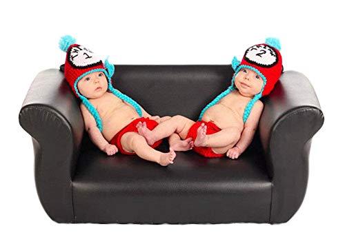 Kostüm Für Zwillinge - Neugeborenes Baby Mädchen häkeln Kostüm Outfits Fotografie Requisiten Zwillinge Uhr Hut+Hose 0-6 Monate