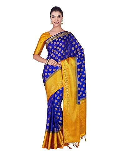 Color Silk Saree (Art Silk Saree Kanjivarm Pattu Style with Contrast Blouse Color: Blue)