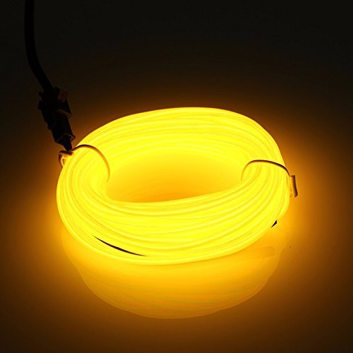 Flexibel 5M 15 FT Neon Beleuchtung Lichtschlauch Leuchtschnur EL Kabel Wire mit 3 Modis für Disco Party Kinder Halloween Kostüm Kleidung Weihnachtsfeiern (Gelb) (Zu Zweit Kostüme Halloween)