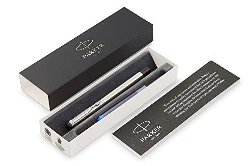 PARKER Vector pluma estilográfica, acero inoxidable con adorno cromado, plumín fino y tinta azul, en estuche de regalo