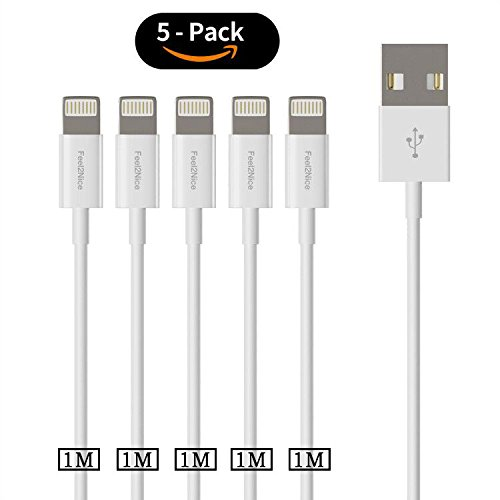 1 m Lightning Kabel, feel2nice 5 Pack iPhone Ladegerät 8-poliges Daten Sync USB-Kabel Ladekabel für Apple iPhone X/8/7S/Plus/SE/5 C/5S/5, iPad Air/mini/4 th Generation/iPod Touch 5. Gen./iPod Nano/7 TH Gen, Weiß