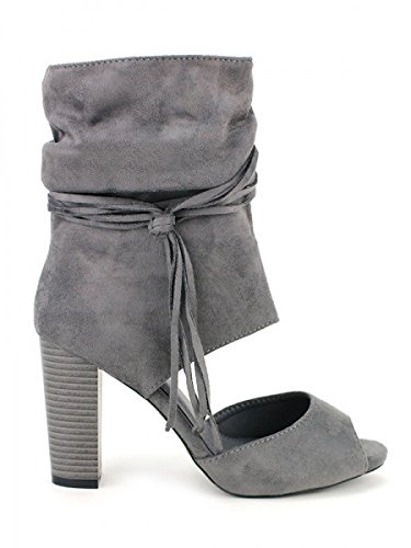 Cendriyon, Bottine ouverte Grise Daim AKANA Mode Chaussures Femme Gris