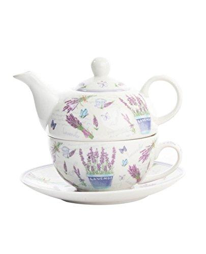 Tetera con taza y plato en porcelana decorada con flores de lavanda (M