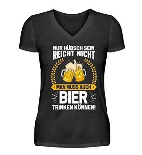 PlimPlom Nur Hübsch Sein Reicht Nicht Man Muss Auch Bier Trinken Können Frauen Party Spruch - V-Neck Damenshirt - Das Trinken Aus Tassen Kostüm