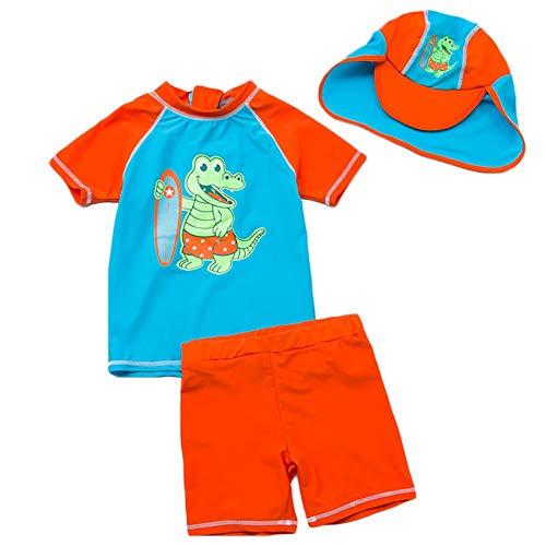 LIUONEXI Baby Jungen Zwei Stücke Kurzarm Dinosaurier Badebekleidung Sonnenschutz UPF50 + Rash Guard Badeanzüge 5 - 2 Stück Rash Guard