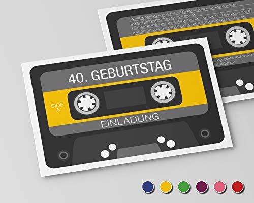 Einladungskarten zum Geburtstag (30 Stück) Einladung zum runden Geburtstag alle Jahre (Gelb) Retro Kassette
