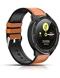 Reloj Inteligente, rastreador de Actividad física con frecuencia cardíaca, Pantalla a Color, podómetro Bluetooth Smartwatch, notificación de Llamadas por para iOS y Android (Marrón)