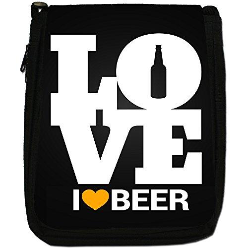 Everyone Loves Pub alcol birra-Borsa a tracolla in tela, colore: nero, taglia: M Nero (I Love Beer)