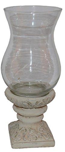 Nene-Home MARENTE-40 cm, Windlicht auf Keramikfuß, antikweiß lackiert