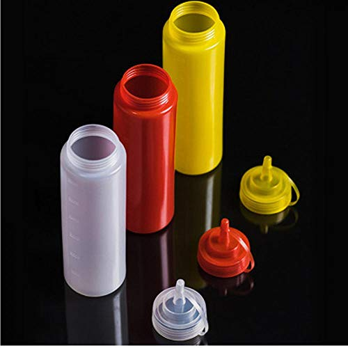PiniceCore 360ml 12OZ Küche Kunststoff Squeeze-Flasche Würze Spender für Sauce Essig Öl Ketchup Salatsoße Küchenzubehör Elfenbein -