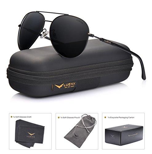 LUENX Herren Sonnenbrille Aviator Polarisiertes Fahren mit Gehäuse - UV 400 Schutz Schwarzer Rahmen Schwarzes Linse 60mm